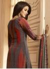 Grey and Red Digital Print Work Pant Style Salwar Kameez - 1