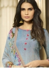 Grey and Light Blue Crepe Silk Palazzo Style Pakistani Salwar Suit For Festival - 1