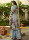 Grey and Light Blue Crepe Silk Palazzo Style Pakistani Salwar Suit For Festival - 2