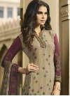 Crepe Silk Beige and Maroon Digital Print Work Palazzo Style Pakistani Salwar Suit - 1