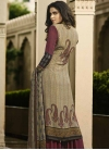 Crepe Silk Beige and Maroon Digital Print Work Palazzo Style Pakistani Salwar Suit - 2