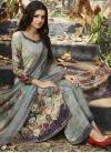 Aqua Blue and Grey Crepe Silk Palazzo Style Pakistani Salwar Suit - 1