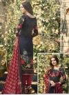 Digital Print Work Crepe Silk Grey and Navy Blue Pant Style Straight Salwar Kameez - 1