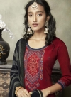 Black and Maroon Pant Style Pakistani Salwar Kameez For Ceremonial - 1