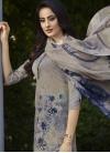 Digital Print Work Crepe Silk Beige and Navy Blue Palazzo Straight Salwar Kameez - 1