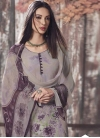 Grey and Purple Pant Style Classic Salwar Suit - 1