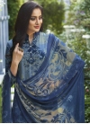 Light Blue and Navy Blue Crepe Silk Palazzo Straight Salwar Suit For Festival - 1