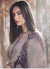 Grey and Purple Pant Style Salwar Kameez - 1