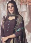 Beige and Purple Digital Print Work Pant Style Designer Salwar Kameez - 1