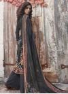 Black and Grey Crepe Silk Palazzo Style Pakistani Salwar Suit - 1