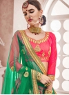 Green and Rose Pink Art Silk A - Line Lehenga For Ceremonial - 1