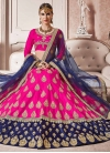 Booti Work Navy Blue and Rose Pink Art Silk Lehenga Choli - 1