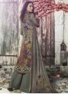 Crepe Silk Brown and Sea Green Digital Print Work Palazzo Style Pakistani Salwar Kameez - 1