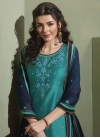 Navy Blue and Teal Embroidered Work Semi Patiala Salwar Suit - 1
