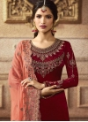 Embroidered Work Satin Georgette Palazzo Style Pakistani Salwar Kameez - 1
