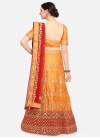 Satin Silk Orange and Red Embroidered Work A - Line Lehenga - 1