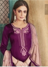 Purple and Salmon Embroidered Work Palazzo Style Pakistani Salwar Kameez - 1