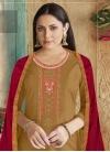 Mustard and Red Cotton Silk Palazzo Style Pakistani Salwar Suit - 1