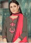 Grey and Rose Pink Cotton Silk Palazzo Style Pakistani Salwar Kameez - 1