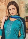 Navy Blue and Teal Embroidered Work Palazzo Style Pakistani Salwar Kameez - 1