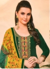 Green and Mustard Trendy Patiala Salwar Suit For Casual - 1