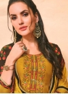 Embroidered Work Cotton Silk Black and Mustard Semi Patiala Salwar Kameez - 1