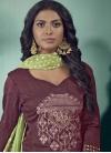 Embroidered Work Cotton Satin Palazzo Style Pakistani Salwar Suit - 1