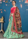 Mint Green and Rose Pink Satin Silk A - Line Lehenga - 1