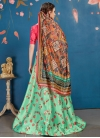 Mint Green and Rose Pink Satin Silk A - Line Lehenga - 2