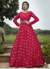 Faux Georgette Print Work Floor Length Gown - 1