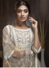 Beige and Off White Embroidered Work Palazzo Straight Salwar Suit - 2