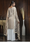 Beige and Off White Embroidered Work Palazzo Straight Salwar Suit - 1