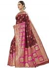 Banarasi Silk Maroon and Rose Pink Contemporary Style Saree - 1