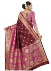 Banarasi Silk Maroon and Rose Pink Contemporary Style Saree - 2