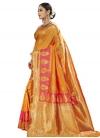 Gold and Hot Pink Banarasi Silk Designer Traditional Saree - 2
