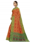 Banarasi Silk Green and Orange Thread Work Trendy Classic Saree - 2