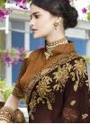 Art Silk Coffee Brown and Mustard Embroidered Work Half N Half Trendy Saree - 2