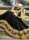 Embroidered Work Art Silk Black and Cream A - Line Lehenga - 1