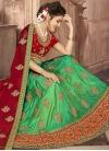 Art Silk Mint Green and Red A - Line Lehenga - 1