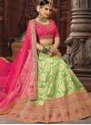 Mint Green and Rose Pink A Line Lehenga Choli For Bridal - 1