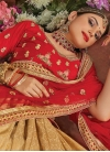 Cream and Red Art Silk Lehenga Choli - 1