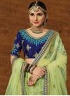 Mint Green and Navy Blue Art Silk Trendy Lehenga Choli - 1