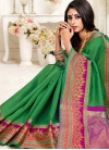 Green and Magenta Thread Work Designer Traditional Saree - 1