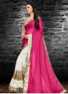 Rose Pink and White Embroidered Work Half N Half Saree - 1