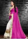 Magenta and White Embroidered Work Half N Half Trendy Saree - 1