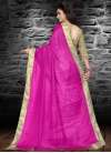 Magenta and White Embroidered Work Half N Half Trendy Saree - 2