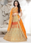 Cream and Orange Embroidered Work A Line Lehenga Choli - 1