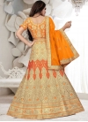 Cream and Orange Embroidered Work A Line Lehenga Choli - 2