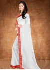 Red and White Trendy Classic Saree - 2