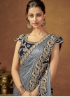 Grey and Navy Blue Embroidered Work Contemporary Style Saree - 1